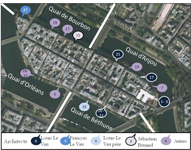 Carte des immeubles remarquables de l 39 le saint louis histoires de paris - Ile saint louis histoire ...
